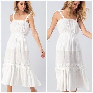 Soft White LACE MIDI Dress w/tie straps